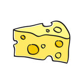 Simple piece of cheese illustration — Stock Vector
