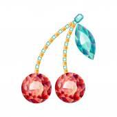 Cherry made of gemstones — Stock Vector