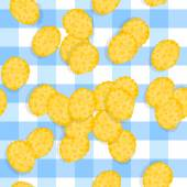 Scattered Corn Flakes on Plaid Tablecloth — Stock Vector