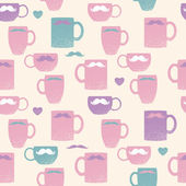 Seamless mustache and mugs pattern — Stock Vector