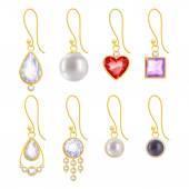 Set of assorted golden earrings — Stock Vector
