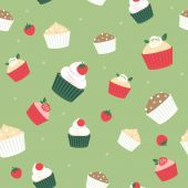 Seamless cupcakes and berries background — Stock Vector