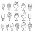 Ice cream black and white icons — Stock Vector #51984391