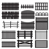 Set of rural fences types — Stock Vector