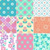 Set of seamless simple flowers patterns — Stock Vector