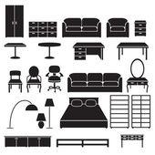 Set möbel-icons — Stockvektor