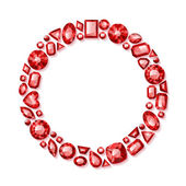 Shiny red gemstones frame. — Stock Vector