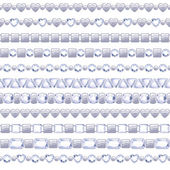 Set of silver chains with diamonds — Stock Vector