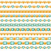 Set of golden chains with emeralds — Stock Vector