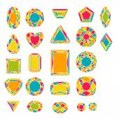 Set of colorful gemstones — Stock Vector