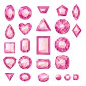 Set of realistic pink jewels — Stock Vector