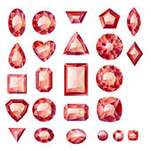 Set of realistic red jewels — Stock Vector