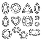 Set of black and white jewels — Stock Vector