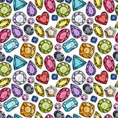 Seamless pattern of colorful jewels — Stock Vector