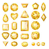 Set of realistic yellow jewels — Stock Vector