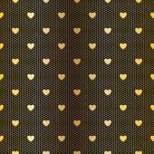 Seamless golden pattern with hearts — Stock Vector