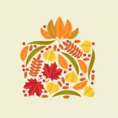 Autumn leaves collected in gift box — Stock Vector