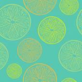 Lime, lemon and orange seamless pattern. — Stock Vector