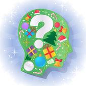 クリスマス オブジェクトと人間の頭 — ストックベクタ