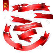 Red glossy snowbound ribbon banners — Stock Vector