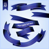 Dark blue glossy ribbon — Stock Vector