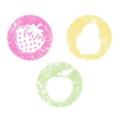 Set of scribbled fruits icons — Stock Vector