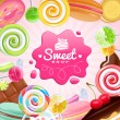 Different sweets colorful background — Stock Vector #52000489
