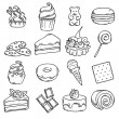 Different black and white sweets icons — Stock Vector #52000545