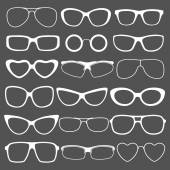Set of different styles sunglasses — Stock Vector