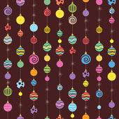 Hanging christmas balls seamless background — Stock Vector