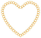 Golden chain shaped in heart form — Stockvektor