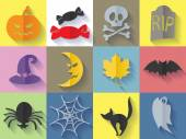 Set of halloween icons. Flat style. — Stock Vector