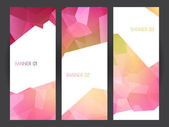 Banners set with abstract crystal background. Ice or jewel structure. — 图库矢量图片
