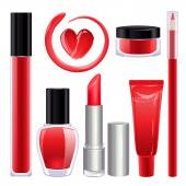 Make-up set for lips and nails. Red color. — Stock Vector