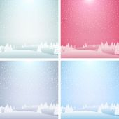 Set of Christmas landscape backgrounds. Postcard design. — Stock Vector