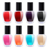Set of colorful nail polish bottles. — Stock Vector