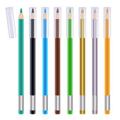 Set of colorful eye liners. Cosmetic pencils illustration. — Stock Vector
