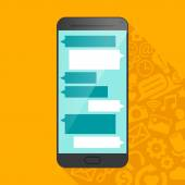 Smartphone icon with multimedia symbols in shadow. — Stock Vector
