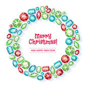 Christmas wreath collected of gems. — Stock Vector