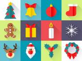 Christmas icons set. Flat style. — Stock Vector