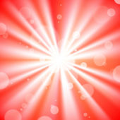 Red light burst background with bokeh. — Vecteur