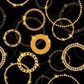 Glühend goldene Kette Kreise auf schwarzem Hintergrund. — Stockvektor