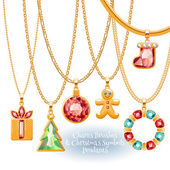 Set of golden chains with Christmas pendants. — Stock Vector