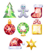 Christmas icons set. Colorful jewels. — Stock Vector