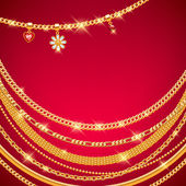 Golden chains on red background. — Stock Vector