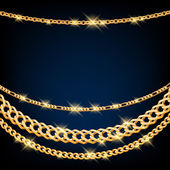 Golden chains on dark blue background. — ストックベクタ