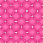 Seamless pink quilted background with pearl pins. — Stock Vector