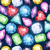 Seamless glowing gemstones background on black. — ストックベクタ