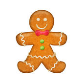 Gingerbread man with red bow. Christmas symbol. — Stock Vector