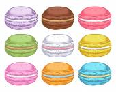 Set of assorted hand drawn macarons. — Stock Vector